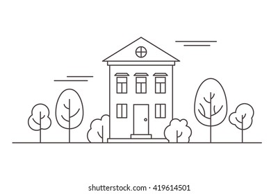 Thin line house in the park. Vector illustration.
