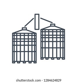 thin line icon agricultural silos, grain elevator, granary, storage and drying of grains, wheat, corn, soy