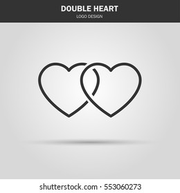 thin line icon. double heart logo. love symbol. use in decoration, design as the emblem. vector illustration.