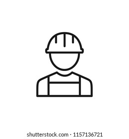 Thin line icon of engineer, people, character, avatar, person. Editable vector stroke 64x64 Pixel.
