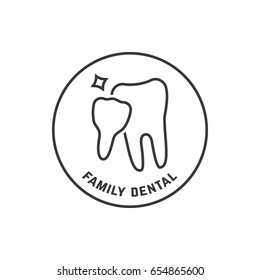 thin line icon of family dental isolated on white. concept of dentista dental care or black emblem for odontologia clinic office. linear flat style trend modern logotype or graphic art design