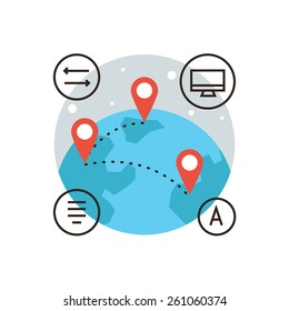 Thin line icon with flat design element of global connection, connect world, global transfer of information, travel around world, mapping globalization. Modern style logo vector illustration concept.