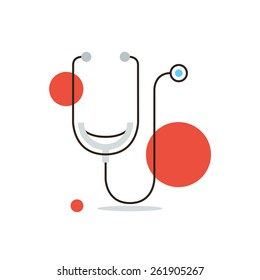Thin line icon with flat design element of medical diagnostics, cardiology investigation, stethoscope, health care, human inspection, tool doctor. Modern style logo vector illustration concept.