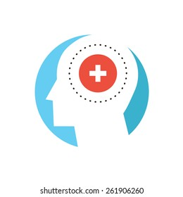 Thin line icon with flat design element of mental health, human dementia, patient psychology, disorder of mind, cure psyche, clinic insane. Modern style logo vector illustration concept.