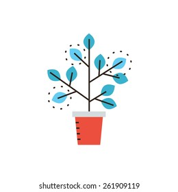 Thin line icon with flat design element of grow business, sprouting seedling, growth process, prospect of future, expansion of company, potted plant. Modern style logo vector illustration concept.