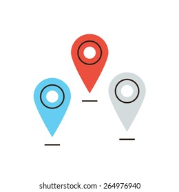 Thin line icon with flat design element of global navigation, positioning location, set of pins, mapping points on map, mark place sign. Modern style logo vector illustration concept.