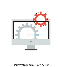 Thin line icon with flat design element of working computer, install new software, operating system, update support, mechanism works. Modern style logo vector illustration concept.