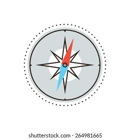 Thin line icon with flat design element of navigational compass, cartography route, wind rose, discovery travel, research journey, points north. Modern style logo vector illustration concept.