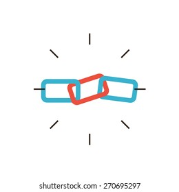 Thin line icon with flat design element of SEO link building,  linked chain, web connection, hyperlink optimization process, global communication. Modern style logo vector illustration concept.
