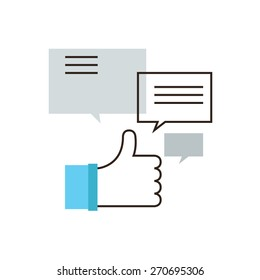 Thin line icon with flat design element of internet comments, online chat, thumbs up gesture, market promotion, social media marketing. Modern style logo vector illustration concept.