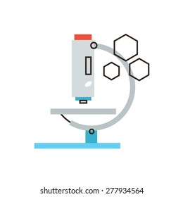 Thin line icon with flat design element of laboratory analysis with medical microscope, chemical test by lab equipment, scientific experiment study. Modern style logo vector illustration concept.