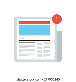 Thin line icon with flat design element of news update message mark, new digital content, social media blog, internet newspaper, latest news article. Modern style logo vector illustration concept.