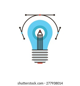 Thin line icon with flat design element of creative drawing idea, graphic design instrument, creative sketch with drawing tool, firm lightbulb solution. Modern style logo vector illustration concept.