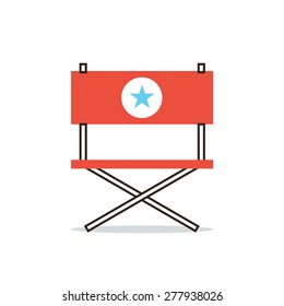 Thin line icon with flat design element of armchair hollywood star, position of director, movie producer, important actor, main role. Modern style logo vector illustration concept.