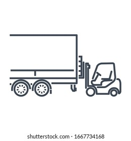 Thin line icon freight road land transport, forklift truck loading pallet into a truck