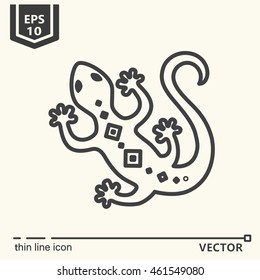 Thin line icon - lizard. EPS 10. Isolated object