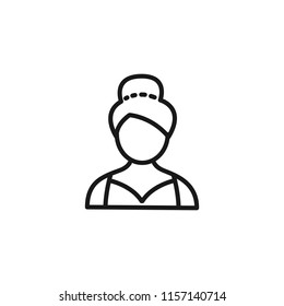 Thin line icon of people, character, avatar, person, woman, model. Editable vector stroke 64x64 Pixel.