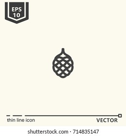 Thin line icon - pine cone. EPS 10 Isolated object