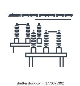 Thin line icon railway electric high voltage power substation, switchgear, busbar