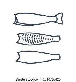 thin line icon raw fish processing, cutting and filleting fish