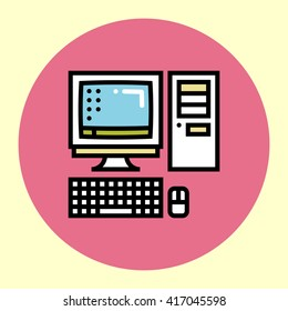 Thin Line Icon. Retro PC. Simple Trendy Modern Style Round Color Vector Illustration.