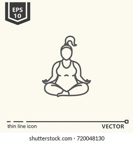 Thin line icon series- Yoga for plump, siddhasana. EPS 10 Isolated object