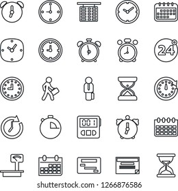 Thin Line Icon Set - 24 around vector, alarm clock, flight table, calendar, heavy scales, stopwatch, manager, schedule, sand