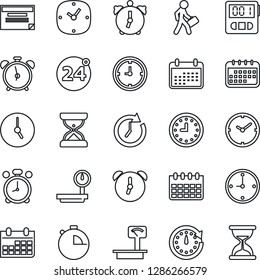 Thin Line Icon Set - 24 around vector, alarm clock, calendar, heavy scales, stopwatch, manager, schedule, sand