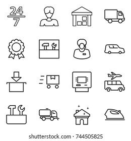 thin line icon set : 24 7, woman, warehouse, delivery, medal, tools, support manager, car shipping, package, fast deliver, atm, transfer, repair, sweeper, house cleaning, iron