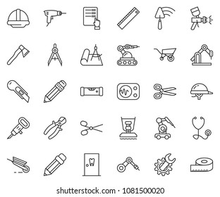 thin line icon set - abacus vector, scissors, pencil, ruler, cutter, wrench gear, drill, trowel, helmet, construction level, airbrush, drawing compass, jackhammer, pliers, axe, wheelbarrow, draw