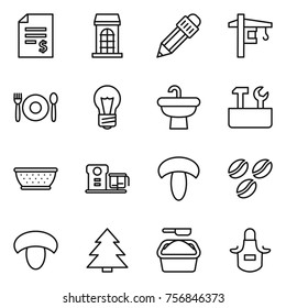 Thin line icon set : account balance, building, pencil, tower crane, cafe, bulb, sink, repair tools, colander, food processor, mushroom, coffee seeds, spruce, washing powder, apron
