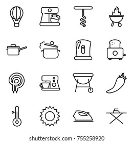 thin line icon set : air ballon, coffee maker, corkscrew, bbq, saute pan, steam, kettle, toaster, elecric oven, hot pepper, thermometer, sun, iron, board