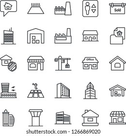 Thin Line Icon Set - airport tower vector, elevator, shop, building, office, store, house, warehouse, estate document, sold signboard, city, crane, factory, insurance, cafe, warm floor, home message