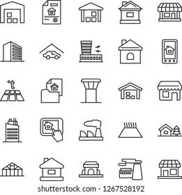 Thin Line Icon Set - airport tower vector, building, office, factory, house, greenhouse, store, warehouse, with tree, garage, estate document, city, cafe, home control app, warm floor, storefront