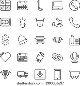 Thin Line Icon Set - airport bus vector, mobile phone, dollar sign, calculator, pennant, calendar, glove, heart, monitor pulse, car delivery, term, microphone, laptop pc, radio, chain, call, bell