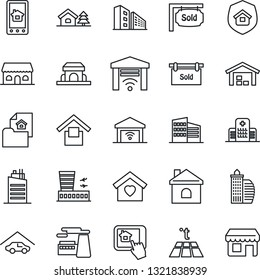 Thin Line Icon Set - airport building vector, factory, house, hospital, warehouse storage, with tree, garage, estate document, sold signboard, office, sweet home, city, insurance, cafe, control app