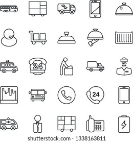 Thin Line Icon Set - airport bus vector, phone, baby room, mobile, ambulance car, doctor, office, 24 hours, support, cargo container, delivery, consolidated, cell, scanner, moving, waiter, dish