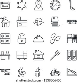 Thin Line Icon Set - airport bus vector, no smoking, helicopter, speaking man, calculator, office binder, desk, farm fork, fireplace, seeds, navigation, plane, consolidated cargo, manager, book, eco