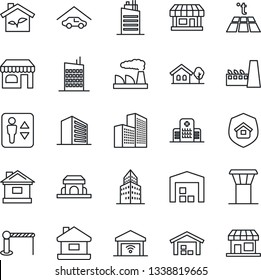 Thin Line Icon Set - airport tower vector, barrier, elevator, shop, office building, factory, house, hospital, store, with tree, garage, warehouse, city, estate insurance, cafe, eco, warm floor