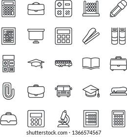 Thin Line Icon Set - airport bus vector, book, calculator, graduate, abacus, presentation board, microscope, case, paper clip, pencil, stapler