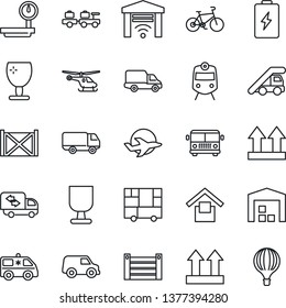 Thin Line Icon Set - airport bus vector, train, baggage larry, ladder car, helicopter, ambulance, bike, plane, delivery, container, consolidated cargo, fragile, warehouse storage, up side sign