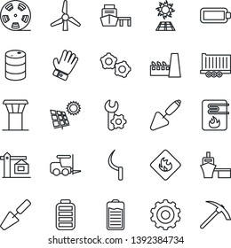 Thin Line Icon Set - airport tower vector, fork loader, gear, trowel, glove, sickle, truck trailer, sea port, flammable, oil barrel, reel, battery, root setup, sun panel, windmill, crane, factory