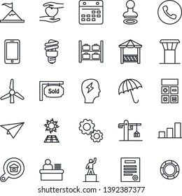 Thin Line Icon Set - airport tower vector, umbrella, phone, stamp, luggage storage, mobile, pedestal, calculator, brainstorm, heart hand, calendar, bar graph, manager desk, contract, windmill, crane