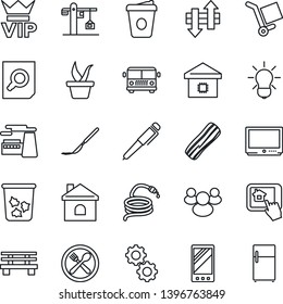 Thin Line Icon Set - airport bus vector, trash bin, vip, document search, coffee, factory, seedling, house, hose, bench, scalpel, cargo, tv, group, mobile, data exchange, pen, smart home, crane