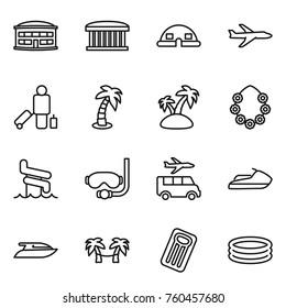 Thin line icon set : airport building, dome house, plane, passenger, palm, island, hawaiian wreath, aquapark, diving mask, transfer, jet ski, yacht, hammock, inflatable mattress, pool