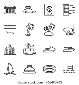Thin line icon set : airport building, car baggage, passport, hotel, lounger, palm, island, diving mask, transfer, jet ski, yacht, windsurfing, service bell, inflatable pool