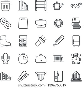 Thin Line Icon Set - alarm clock vector, office building, calculator, pennant, watering can, boot, caterpillar, thermometer, rack, microphone, chain, stopwatch, torch, book, stapler, fridge, case
