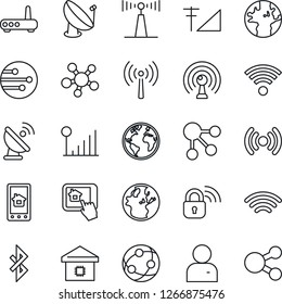 Thin Line Icon Set - antenna vector, earth, satellite, network, share, user, wireless, bluetooth, cellular signal, smart home, lock, router, control app, social media