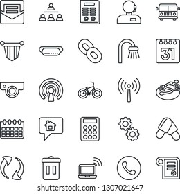 Thin Line Icon Set - antenna vector, airport bus, phone, wireless notebook, pennant, calendar, pills, bike, route, chain, update, mail, calculator, support, hierarchy, contract, bathroom, hot dog