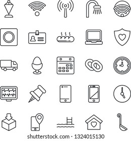 Thin Line Icon Set - antenna vector, identity, pennant, monitor pulse, heart shield, mobile tracking, car delivery, clock, package, cell phone, laptop pc, chain, paper pin, record, calendar, pool